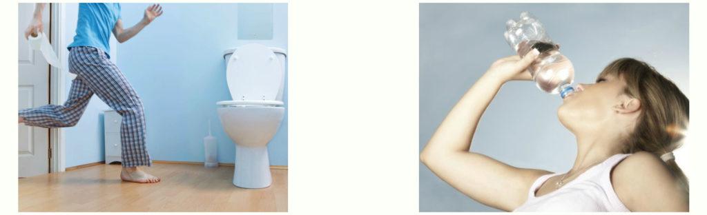 Повышенной жажде и частым позывам в туалет