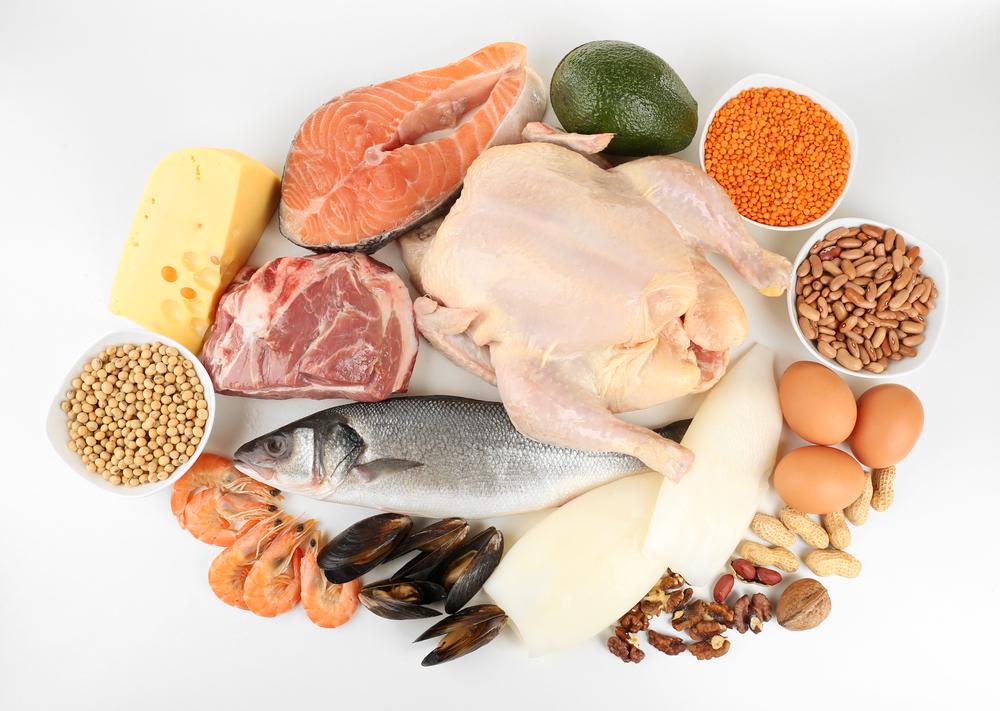 Белковая пища вместе с овощами или злаками